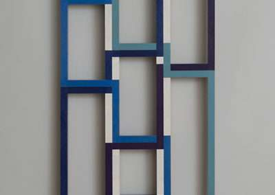 Emi Ozawa, Blue Line, 2017, acrylic on mahogany, 46 x 16 x 1.375 inches