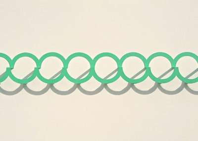 Emi Ozawa Nine Mint Circles, 2018, paper on board, 10.5 x 24 x 2.5 inches, 26.7 x 61 x 6.4 cm, 10.5 x 24 x 2.5 inches: frame, 26.7 x 61 x 6.4 cm, Edition of unique variations.