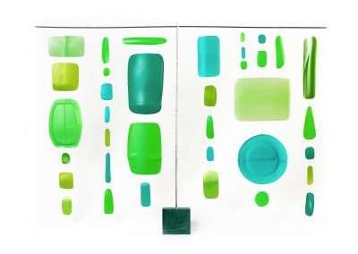Matt Magee, Green Hanger 1, 2018, plastic bottles, wire, steel rod, plastic block, 26 x 36 x 2 inches