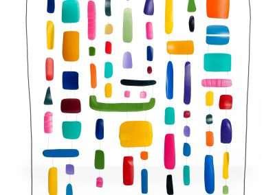 Matt Magee, Hanger 21, 2017, plastic bottles, wire, plexiglass base, 26 x 26 x 4 inches