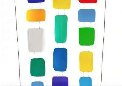 Matt Magee, Three Row Hanger, 2012, plastic bottles, wire, plexiglass base, 18.5 x 12 x 4 inches