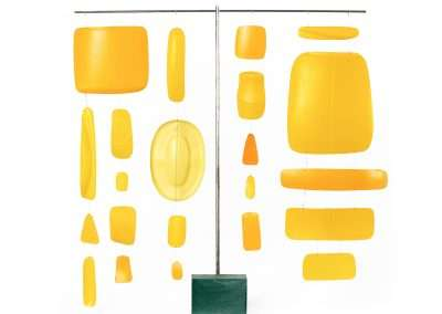 Matt Magee, Yellow Hanger, 2018, plastic bottles, wire, steel rod, plastic block, 20 x 20 x 2 inches