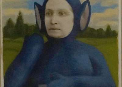 Alex Gross, untitled (Teletubby), 2016, mixed media on antique cabinet card photograph, 6.5 x 4.5 inches: image, 11 x 9 inches: frame