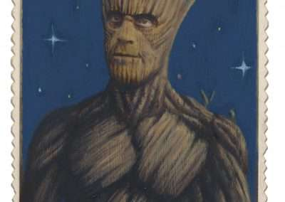 Alex Gross, Groot, 2016, mixed media on antique cabinet card photograph, 6.5 x 4.5 inches: image, 11 x 9 x 1.375 inches: frame