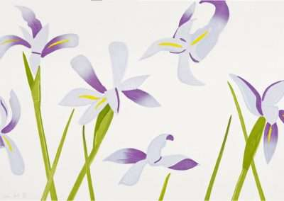 Alex Katz, Blue Flags, 2014, Japanese woodblock in seventeen colors, 23.375 x 36.125 inches: image, 28 x 41 inches: frame, Edition 66/76