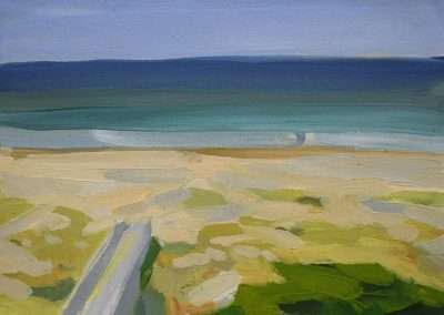 Beau Carey - Holden Beach from Balcony, 2018, oil on paper, 5.5 x 7.5 inches: paper, 9 x 11 inches: frame