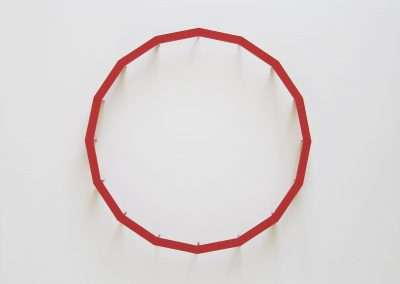 Emi Ozawa, Red Ring, 2018, paper on board, 14 x 14 x 2.5 inches: frame, Edition of unique variations