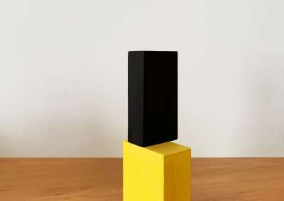Jeff Kellar, Blocks(B-YB18), 2018, resin, clay and pigment on wood, 9 x 2.5 x 3.25 inches