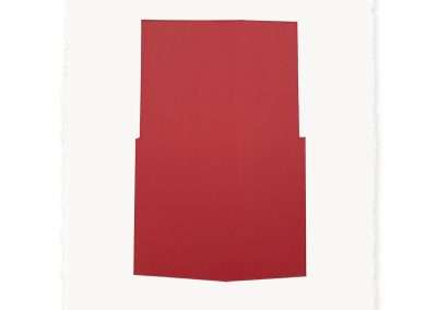 Jeff Kellar - white w/red 2, 2019, oil stick on 300lb watercolor paper coated w/resin, clay and pigment, 16 x 12 inches: paper