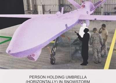 John Baldessari, The News: Person Holding Umbrella…, 2014, multi-colored screenprint, 31 x 35.25 inches: image, Edition of 50