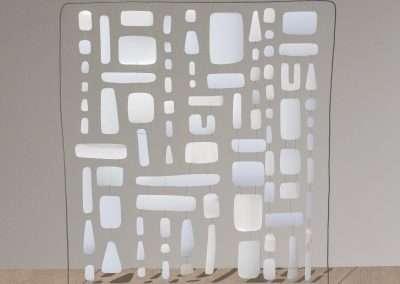 Matt Magee - White Hanger, 2018, detergent bottles, wire, plex base, 27 x 27 inches x 4 inch base