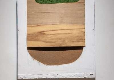 Mick Burson - Thousand yard stare., 2017, acrylic oil, cork and wood, 25.75 x 22 x 3 inches