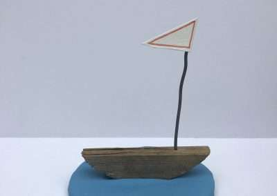Mick Burson - Became a sail boat before I knew it., 2018, clay, wood, wire and paper, 5 x 5 x 5.5 inches
