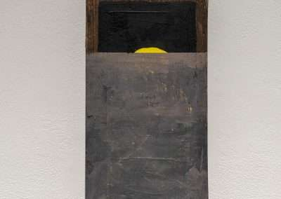 Mick Burson - I blinked and I missed it., 2018, wood and paint, 18.25 x 7.25 x 3 inches