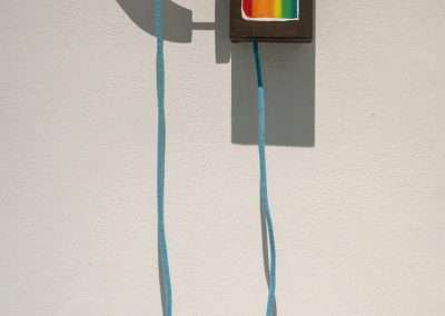 Mick Burson - Adult landline., 2016, wood, oil paint, and cord, 13.5 x 12 x 3.75 inches