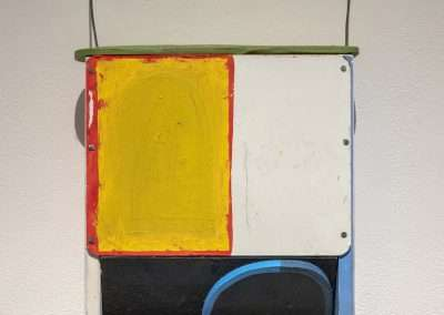 Mick Burson - A predetermined rendezvous with a close line., 2016, wood, paint and wire, 26 x 13.5 x 3.25 inches