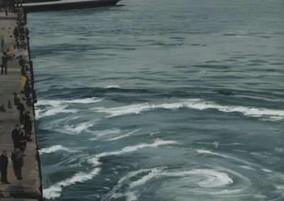 Richard Estes, Ferry Boats, 1999, oil on paper mounted to panel, 14 x 10 inches: image, 16.75 x 12.75 inches: frame