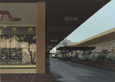 Richard Estes, Lakewood Mall, from the Urban Landscapes III portfolio, 1981, color screen print 20 x 28 inches: image, 23.75 x 29.25 inches: frame, Edition of 250