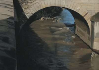 Richard Estes, Under the Bridge, 1999, oil on paper, 12.5 x 9 inches: image, 15.25 x 12 inches: frame