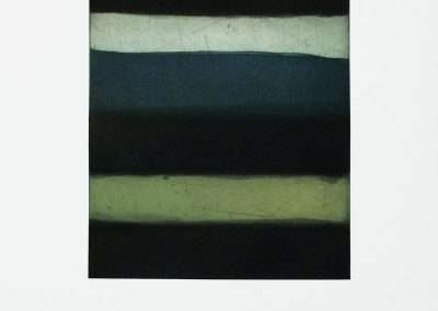 Sean Scully, Landline Blue, 2015, aquatint, spit bite and sugar lift on paper, 12.5 x 10 inches: image, 22 x 17 inches: paper, Edition of 30