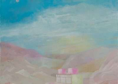 Thomas Frontini - Proposal For Canvas Desert House #3 (After Albert Frey), 2017, oil on linen, 16 x 16 inches