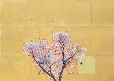 Daniel Ballesteros, Gold Leaf Tree No. 025, 2018, gold leaf on archival pigment print, 25 x 20.25 inches: image, Edition of 3