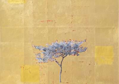 Daniel Ballesteros, Gold Leaf Tree No. 038, 2018, gold leaf on archival pigment print, 25 x 20.25 inches: image, Edition of 3