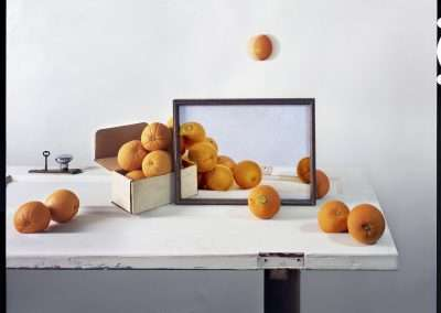 John Chervinsky, Oranges, Box and Painting on Door, 2011/2014, archival inkjet print,  30 x 38, inches: image, Edition of 3