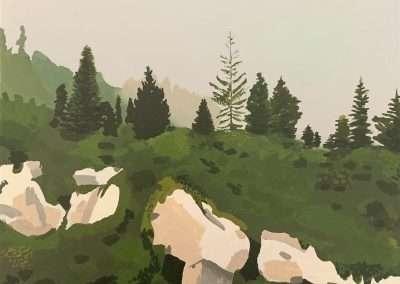 Gillian Stoneburner, August 7 Oberland no.3 Col Pierre du Moëllé, 2019, oil on panel, 9 x 12 inches