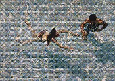 William Betts, Swimmers III, Miami Beach, Version2, 2019, acrylic on canvas, 48 x 72 inches