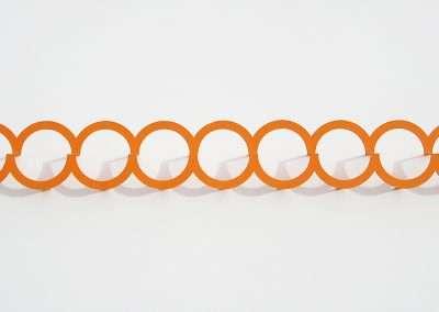 Emi Ozawa, Nine Orange Circles, 2018, paper on board, 10.5 x 24 x 2.5 inches