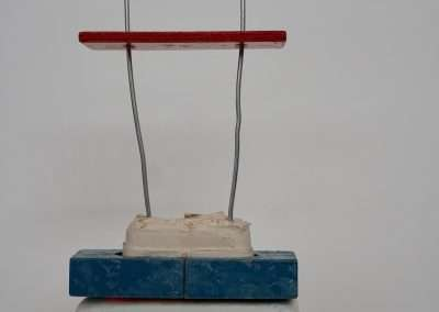 Mick Burson, Put me in Coach, 2019, clay, wood, wire, 14 x 6 x 3 inches