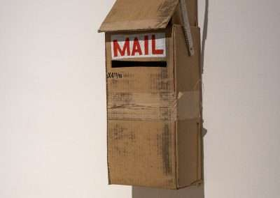 Mick Burson, letter writing station(detail), 2019, cardboard