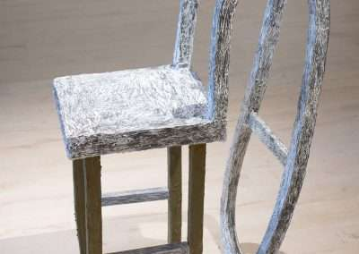 Mick Burson, Sleeping chair., 2019, card stock, glue, joint compound, paint, graphite, 49 x 16 x 28 inches