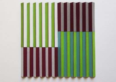 Emi Ozawa, Maroon & The Greens, 2018, paper, tape on board, 13 x 13 x 1.5 inches