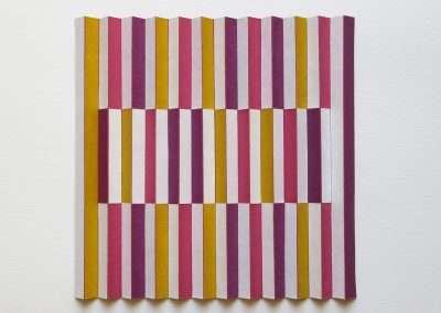 Emi Ozawa, Sugar Plum, 2018, paper, tape on board, 13 x 13 x 1.5 inches