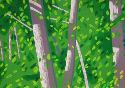 Alex Katz, Forest, 2008, woodcut and linocut in colors on Sunray paper, 29.75 x 66.75 inches: paper, 33.5 x 70 inches: frame, Edition of 45