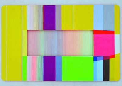 Xuan Chen, Light Threads Set 3 #2, 2016, mixed media on aluminum, 24 x 36 x 1.5 inches