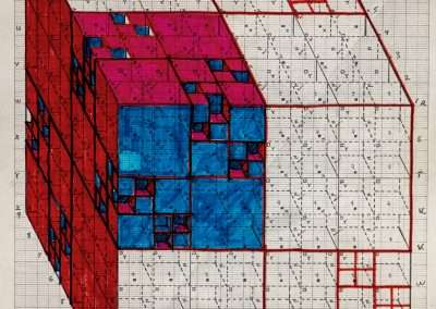 Clark Richert, Pascal Cube 2, 1992-94, colored pencil on paper, 11 x 8.5 inches: paper