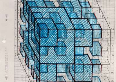 Clark Richert, Pascal Cube 3, 1992-94, colored pencil on paper, 11 x 8.5 inches: paper