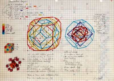 Clark Richert, Periodic Table balanced cube, 1992-94, colored pencil on paper, 11 x 8.5 inches: paper