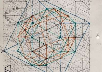 Clark Richert, Zono-hedral Lattice, 1973, colored pencil on paper, 11 x 8.5 inches: paper