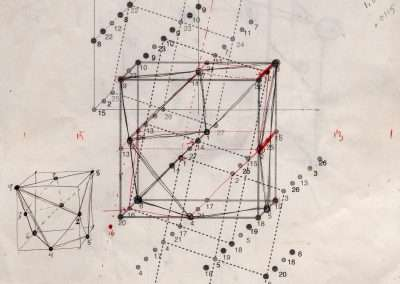 Clark Richert, Periodic Table Interpenetration, 1992-94, colored pencil on paper, 11 x 8.5 inches: paper