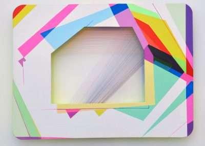 Xuan Chen, Light Threads #5, 2014, mixed media on aluminum, 9 x 12 x 1 inches