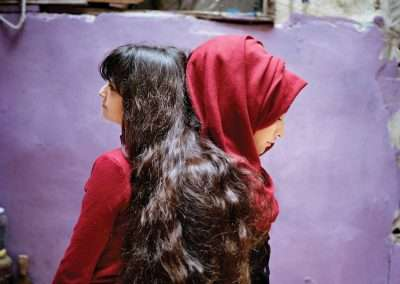 Rania Matar, Sara and Samira, Bourj El Barajneh Refugee Camp, Beirut Lebanon, 2018, archival pigment print on Baryta paper, 19.2 x 24 inches: image, edition of 8, 28.6 x 36 inches: image, edition of 6, 40 x 50 inches: image, edition of 2