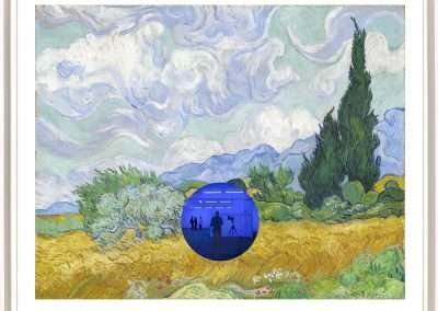 Jeff Koons, Gazing Ball (van Gogh Wheatfield with Cypresses), 2017, archival pigment print on Innova rag paper, inlaid mirrored glass, 33.625 x 40.4375 inches: paper, 35.375 x 42.1875 inches: frame