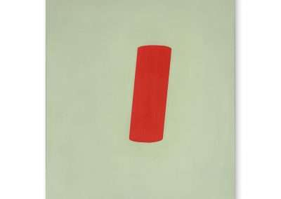 Jeff Kellar, Shade Green Red, 2020, resin, clay and pigment on aluminum composite panel, 36 x 24 inches: panel