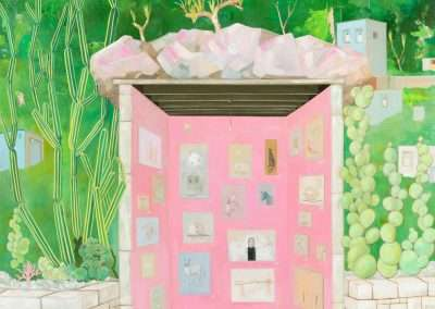 Thomas Frontini, Art Sale at the Pink Garage, Silver Lake, CA, 2020, oil on linen, 56 × 45 inches