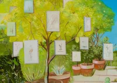 Thomas Frontini, Backyard Retrospective Exhibition, Silverlake, CA, 2019, oil on panel, 14 x 11 inches