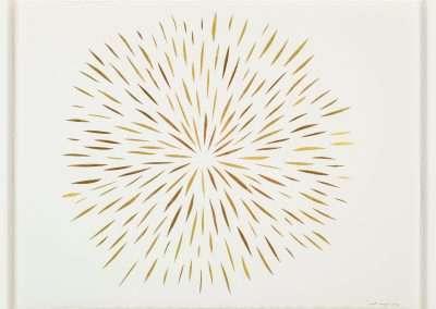 Matt Magee, Burst, 2020 gold foil on Arches, 23 × 30 in